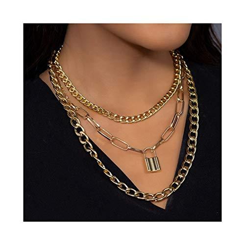 chenyou Pendant Punk Lock Chains Choker Necklace Padlock Pendant Necklaces for Women Aesthetic necklace (Metal Color : Lock Gold)