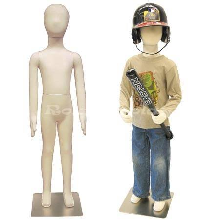 (JF-CH07T) Child Body Form 7 yrs. old white jersey form cover,with head, flexible arms, fingers & legs, metal base