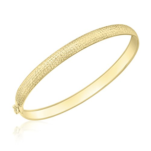 Carissima Gold Women's 9 ct Yellow Gold Diamond Cut Pine Flexible Bangle, Size 6 mm