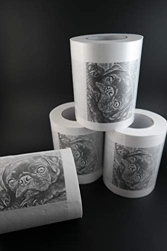 4er-Pack Toilettenpapier mit Mops-Motiv von mopsverrueckt.de