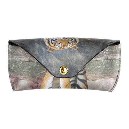 XiangHeFu Funda para gafas Red Leaf Forest Tiger Cuero de PU Gafas portátiles Bolsa Multiuso Almacenamiento Gafas de sol Estuche