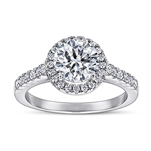 GYAM Anillo 1 Quilate Anillo De Diamantes De Circonio S925 Anillo De Plata Atmósfera Simple Moda Anillo De Propuesta De Boda De Oro Blanco De 18 Quilates,5
