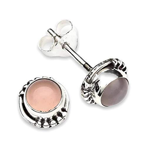 Pendientes de plata 925 con cuarzo rosa (No: MOS 26-07)