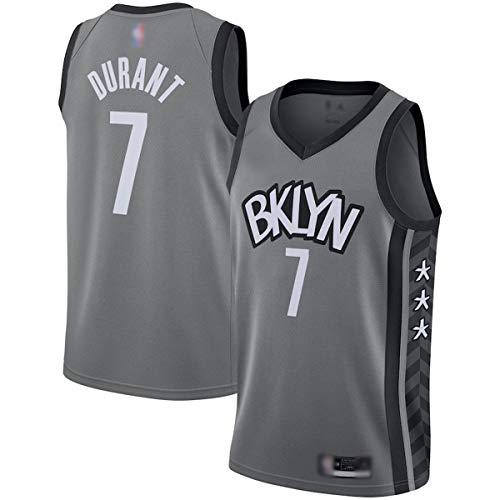 ERERT Maillots de entrenamiento de baloncesto para hombre, Kevin Durant #7 gris, Brooklyn Nets 2020/21 Swingman Jersey transpirable de manga corta para hombre - Declaración edición