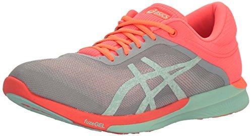 ASICS Women's fuzeX Rush Running Shoe, Mid Grey/Bay/Flash Coral, 8 M US