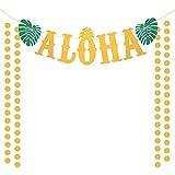 ZERHOK Aloha décoration bannière, Aloha Hawai Decoration Guirlande Tropicale Or hawaïenne Luau Paillettes Luau Tiki Party Decor avec Ananas Feuilles Vertes pour Piscine fête d'été Plage