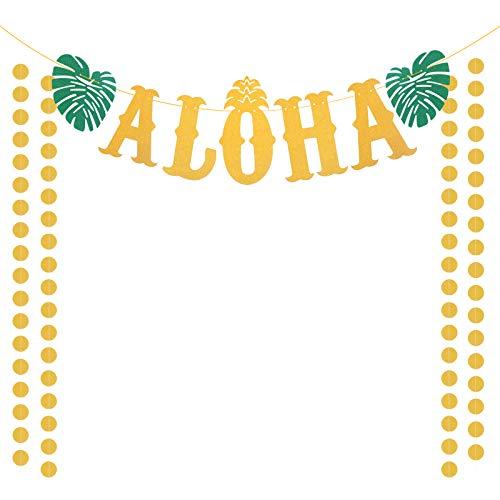 ZERHOK Aloha Hawaii Party Banner Deko, Glitzernd Willkommen Girlande mit 4Stk Gold Runde Ketten Palmen Tropischen Luau Thema Party für Strand Pool Sommer (Neu)