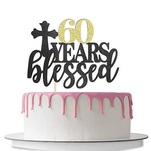 60 Jahre Kuchen-Dekoration zum 60. Geburtstag, zweifarbig, Schwarz und Gold Glitzer
