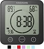 KADAMS Digital Bathroom Shower Kitchen Clock Timer with Alarm, Waterproof for Water Splashes, Visual Countdown Timer, Time Management Tool, Indoor Temperature Humidity, Suction Cup, Hole Stand - Black