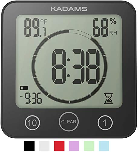 KADAMS Digital Bathroom Shower Kitchen Clock Timer with Alarm, Waterproof for Water Splashes, Visual Countdown Timer, Time Management Tool, Indoor Temperature Humidity, Suction Cup, Hole Stand (BLACK)