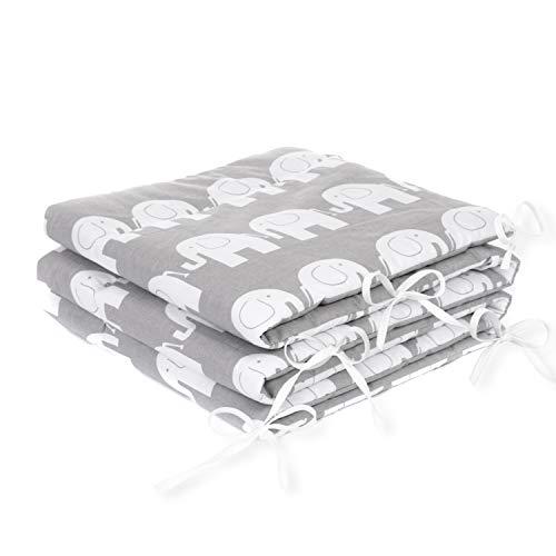 Amilian® Bettumrandung Nest Kopfschutz Nestchen 420x30cm, 360x30cm, 180x30 cm Bettnestchen Baby Kantenschutz Bettausstattung Elefant Grau (180x30cm)
