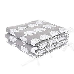 Tour de lit Nid Tête Protection Tour de lit 420x 30cm, 360x 30cm, 180x 30cm équipement de lit tour de lit bébé Protection des Bords éléphant gris