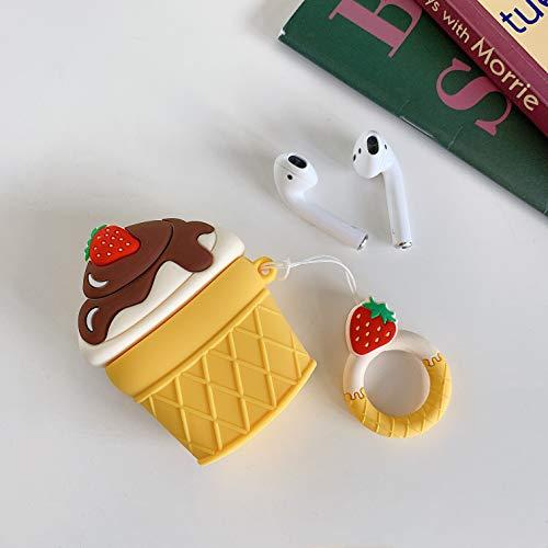 SevenPanda Niedliche Hülle für Apple Airpods, Cartoon Silikon 3D Lustige Airpod Hülle, Weiche Kawaii Kits mit Karabiner, Einzigartige Hüllen für Mädchen Kinder Frauen Air Pods - EIS (Weiße Erdbeere)