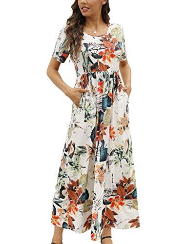 CHERFLY Vestito Donna Estivo Casual Abito Lungo Elegante Manica Corta con Tasche (Floreale Bianco,L)