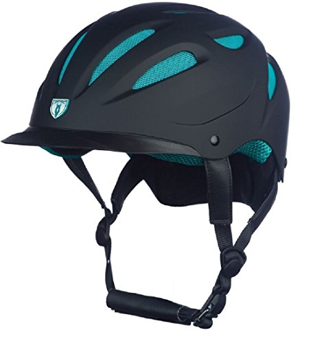 Tipperary Sportage Hybrid Western Riding Helmet Low Profile Horse Safety Black and Teal (XS)