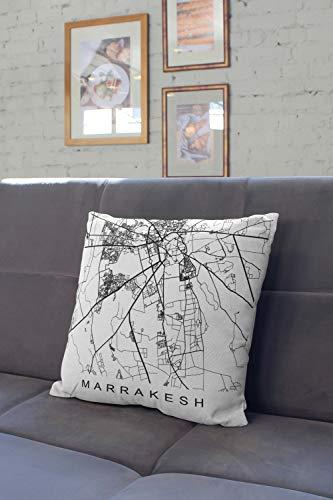 Lplpol Almohada Marrakech regalo marroquí decoración marroquí mapa de Marrakech funda de almohada decorativa para sofá para el hogar, sofá o cama, 56 x 56 cm