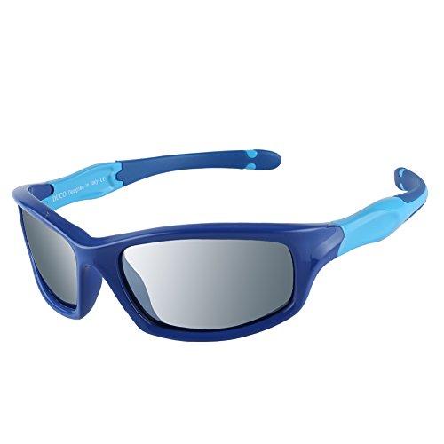 DUCO kinder sport style polarisierenden sonnenbrillen flexiblen rahmen für die jungen und mädchen k006 (Blau/Silber Gespiegelt)