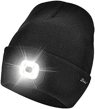 Etsfmoa Unisex Beanie Hat with Rechargeable LED Light (Black)