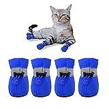YAODHAOD Protector de Pata de Botas para Perros, Zapatos para Perros Antideslizantes, Estos Cómodos Zapatos Suave Tienen Correas Reflectantes, para Perros Pequeños (4, Azul)