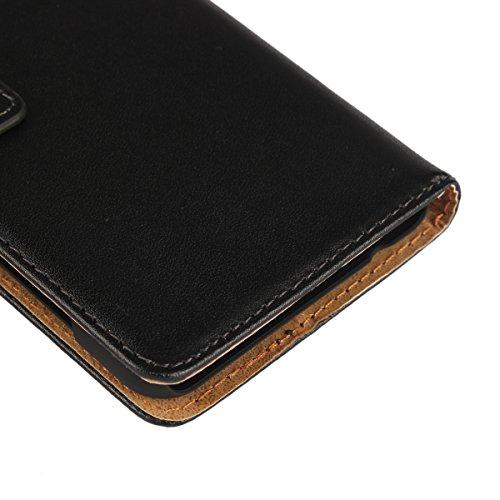 Copmob Huawei Y6 II Compact Hülle, Huawei Y6 II Compact HandyHülle, [Premium Leder] [Standfunktion] [Kartenfach] [Magnetverschluss] Schlanke Leder Brieftasche - Schwarz - 6