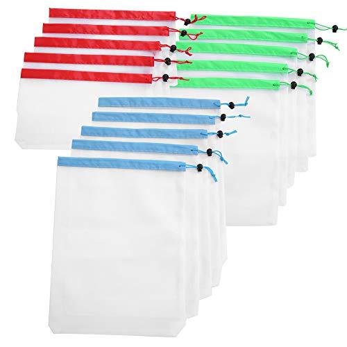 Bolsa de malla 15 Uds 3 bolsas de malla con cordón de tamaño reutilizables, juguetes, frutas, verduras, almacenamiento, ponche
