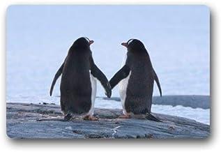 ZMvise Rubber Funny Penguin Couple Love Animal Love Doormat Rug Indoor Outdoor Front Door Bathroom Mats Floor Mat 18 x 30 ...