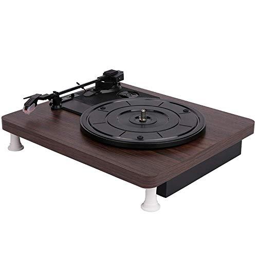 YWT Reproductor de Discos, Tocadiscos de 3 velocidades Reproductor de Discos de Vinilo Bluetooth Reproductor de Discos de PVC Vintage Disco de Vinilo Giratorio Audio RCA R/L Salida USB de 3.5 mm