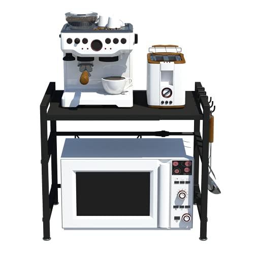 CM67 Soporte para microondas de acero al carbono, soporte para microondas, soporte para microondas, soporte para mesa de trabajo, soporte para especias, con 3 ganchos, color negro acero inoxidable