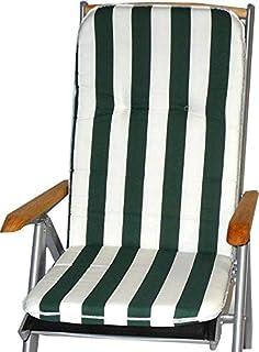 Gartenstuhl-Kissen Almohada Cojines para sillas de jardín Respaldo Alto Franja Verde Blanco