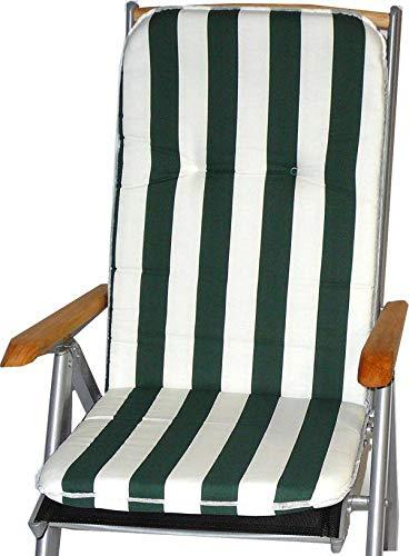 Stuhlkissen für Hochlehner mit Längstreifen in grün weiß