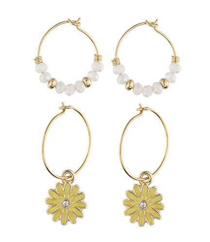 SIX Trendy 647-727 - Juego de pendientes de aro con piedras de cristal y diamantes de imitación para mujer