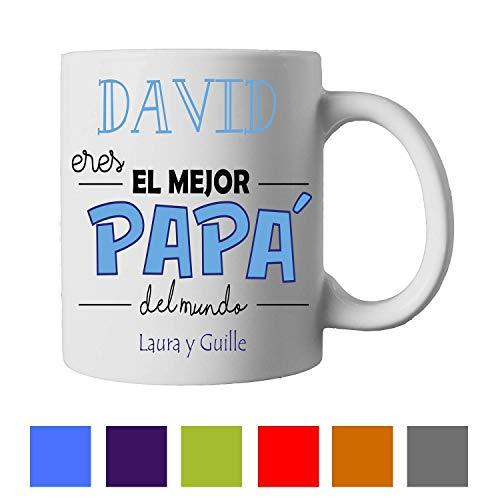Kembilove Taza de Café Padre Eres el Mejor Papá – Taza de Desayuno con nombre Personalizado – Tazas de Café y Té para Papá – Taza de Cerámica – Tazas de de 350 ml