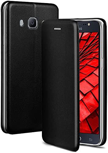 ONEFLOW Handyhülle kompatibel mit Samsung Galaxy J5 (2016) - Hülle klappbar, Handytasche mit Kartenfach, Flip Hülle Call Funktion, Leder Optik Klapphülle mit Silikon Bumper, Schwarz