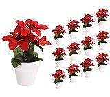 spetebo - confezione 12 piante poinsettia stella di natale artificiale in vaso decorazione da tavolo