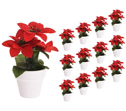Spetebo Weihnachtsstern künstlich im Topf - 12er Set - Tisch Deko Pflanze künstlich Kunstblume Adventsstern Christstern Poinsettie