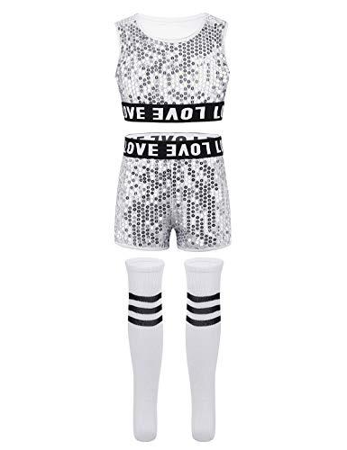 YOOJIA Kinder Mädchen Hip-Hop Jazz Tanz Outfit Cheerleading Kleidung Set Glänzende Pailletten Tanzkleidung Dancewear Ärmelloses Crop Top + Shorts + Socken Silber 140-152/10-12Jahre