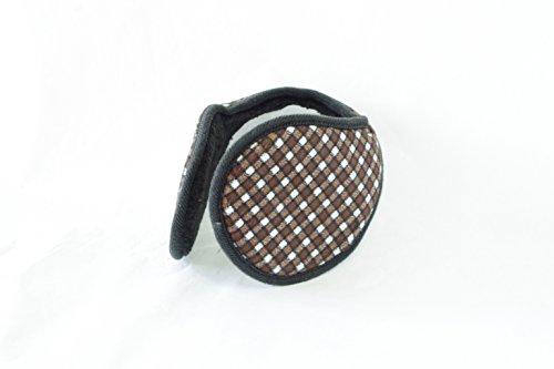 TPOS イヤーマフ 耳あて 耳カバー シンプル コンパクトなイヤウォーマー チェック柄 6色 (茶×白)