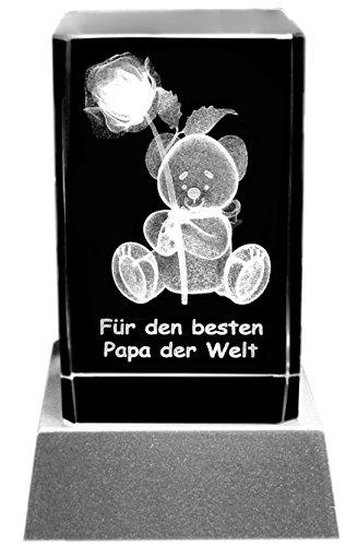 Kaltner Präsente Stimmungslicht – Ein ganz besonderes Geschenk: LED Kerze/Kristall Glasblock / 3D-Laser-Gravur Teddy Rose/Für den besten Papa der Welt