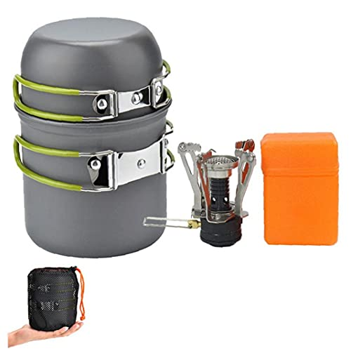Camping Stove Cookware Backpacking Stove Cooking Set Propane Burner Gas Canister Portable for Outdoor Hiking Picnic