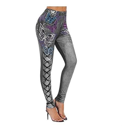 LSTGJ Empuje hacia Arriba Sin Costuras Jeans De Alta Cintura Impresa Leggings Mujeres Elástico Elástico Estirar Bien Tamaño Jogging (Color : Style A 2 Gray, Size : 5XL.)