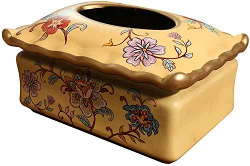 KMILE Caja de pañuelos de almacenamiento de decoración casilleros American Village Flower Ceramic Tissue Box Decoración Home Creative Bird Book Box Caja de pañuelos