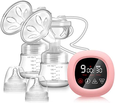 Electric Breast Pump, NEKAN Double Breast Pumps Portable Dual Suction Breastfeeding Pump Rechargeable Milk Pump with Smart LCD Touch Screen with Milk Suction, Breast Massage and Lactation Fuction