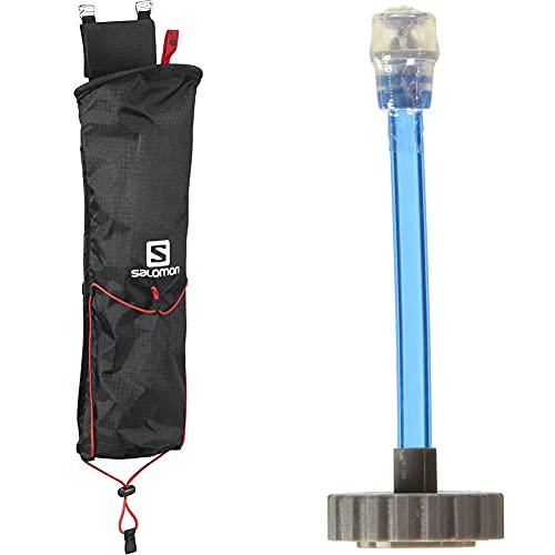 SALOMON Porta Bastoni, Custom Quiver, per Escursioni e Trekking, Nero, L39283200 & Soft Flask Speed Straw L39390000 Cannuccia per Soft Flask, 13 x 6 x 5 cm