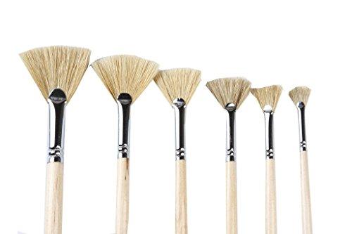 Artist Paint brushes Oil Professional Fan Brush Hog Hair Paintbrush Set-Long handle. (6pcs)