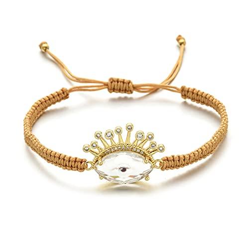 Pulsera de ojo malvado turco de cristal pavé, brazalete con cuentas para mujer, pulseras de cuentas de cristal a la moda, joyería de fiesta de ojo griego