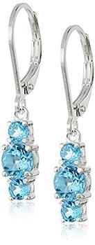 Sterling Silver Genuine Swiss Blue Topaz Three Stone Leverback Dangle Earrings