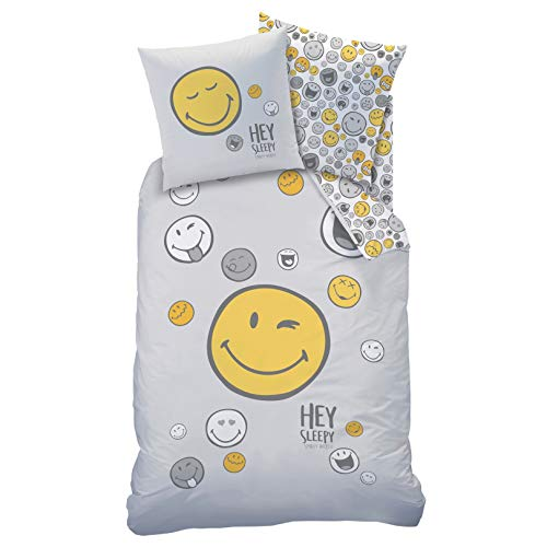 Juego de ropa de cama 135 x 200 y 80 x 80 cm, diseño de smiley con frases en alemán para adolescentes y jóvenes, 2 piezas, 1 funda de almohada de 80 x 80 cm y 1 funda nórdica de 135 x 200 cm