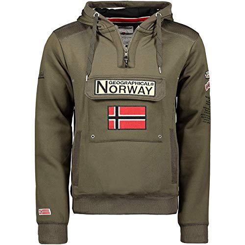 Geographical Norway GYMCLASS Men - Sudadera Capucha Bolsillos Hombre - Chaqueta Casual Hombres Abrigo - Camisetas Camisa Manga Larga - Hoodie Deportiva Regular Fitness Jacket Tops (Caqui M)