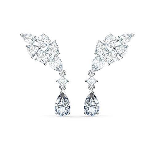 Swarovski Women's Tennis Deluxe Cluster Pierced Earrings, Set of Brilliant White Swarovski Crystal Deluxe Earrings with Rhodium Plating