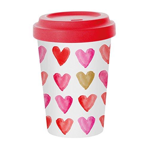 PPD Aquarell Hearts Gold Bamboo Coffee-To-Go Becher, Kaffeebecher, Pappbecher, Trinkbecher, Bambus-Silikon, Pink / Gold, Ø 9 cm, 603340